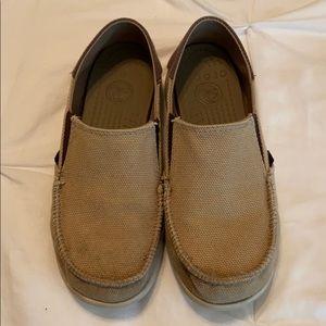 Junior size 3. Tan & brown slip on Crocs.
